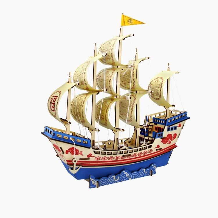 Đồ chơi lắp ráp gỗ 3D Mô hình Thuyền buồm Dafu Ship Laser