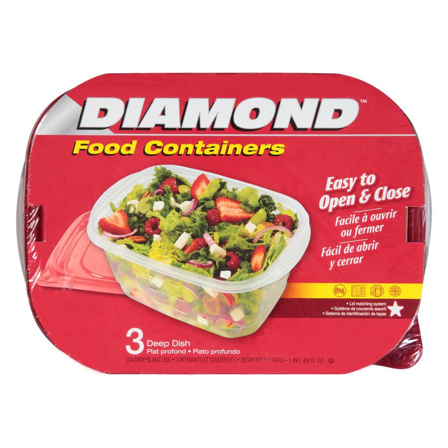 Bộ 3 Hộp Đựng Thực Phẩm Deep Dish Diamond (1890ml / Hộp)