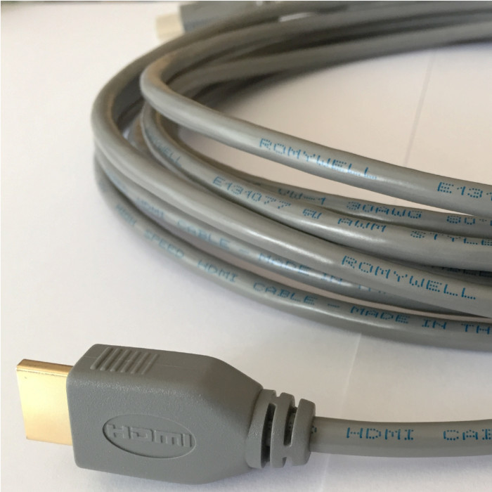Cáp HDMI Romywell Thái Lan chuẩn 4k 3.0m màu xám - Hàng Nhập Khẩu