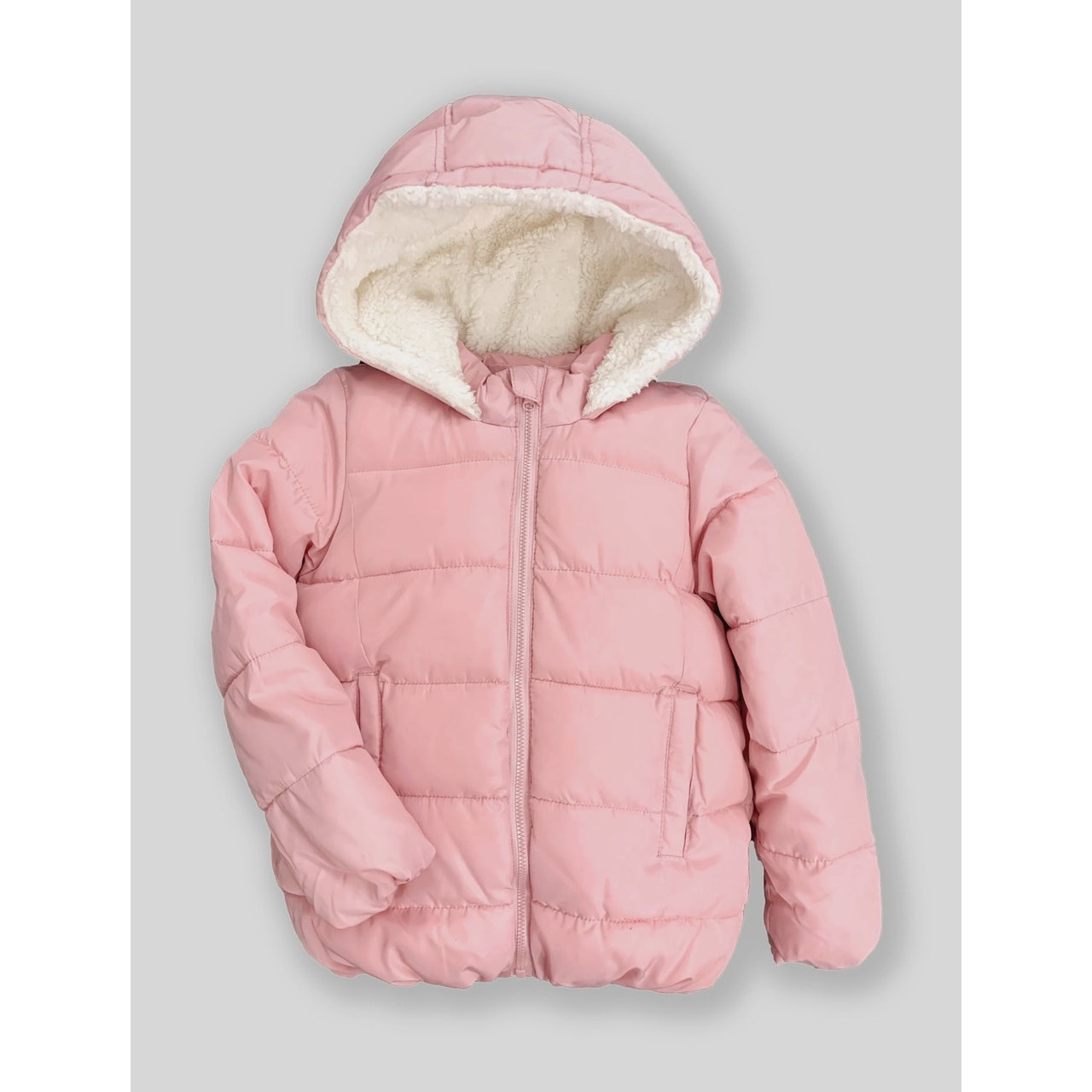 Áo khoác phao lót nỉ, mũ lông cừu cho bé gái 9m-5 tuổi