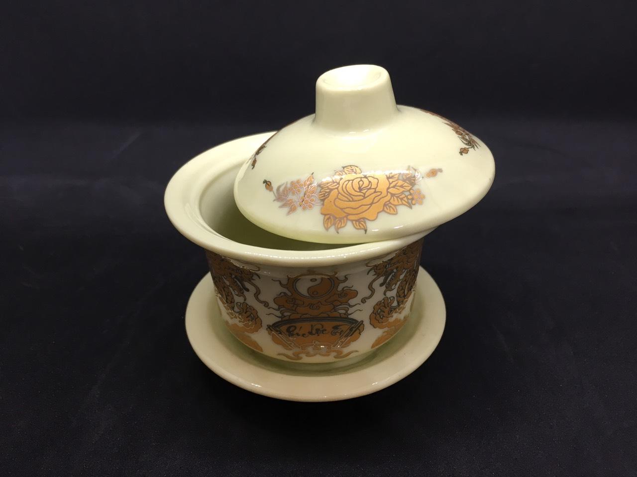 Bát nước cúng Phật  ( có nắp ) sứ bát tràng cao cấp  Đk:8cm. Cao:8,5cm