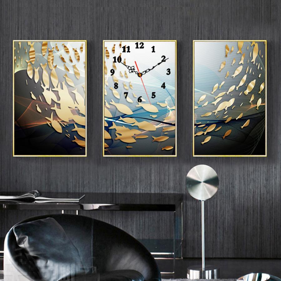 Tranh treo tường, tranh đồng hồ NT218 bộ 3 tấm ghép