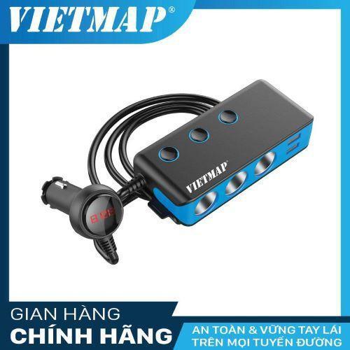 Bộ Chia Nguồn Ô tô An Toàn VietMap VM71 Cao Cấp – Tẩu Sạc Ô tô 3 Tẩu  4 Cổng Sạc USB - Phụ Kiện Ô Tô