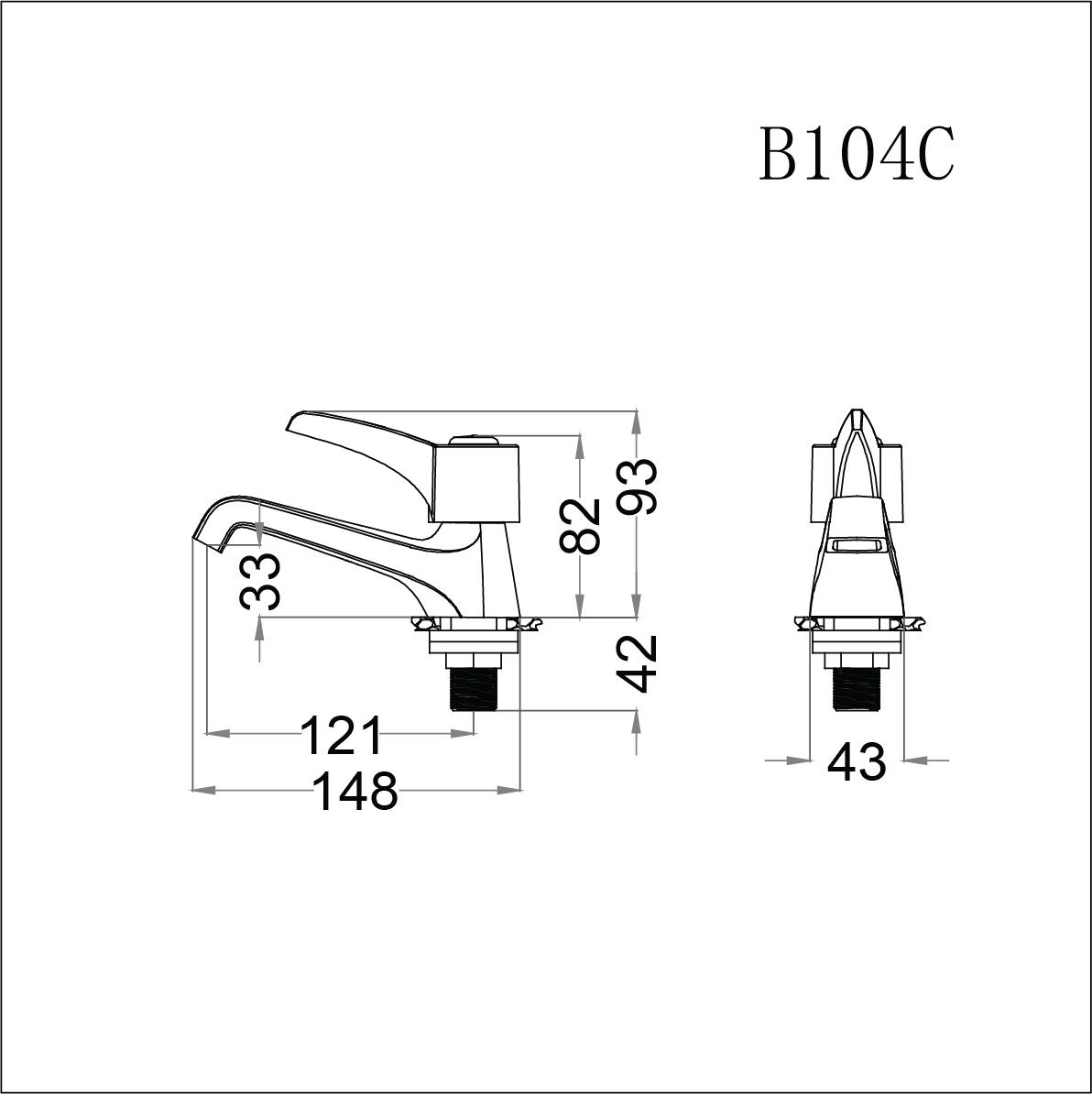 Vòi lavabo lạnh tay gạt Caesar B104C (chưa bao gồm bộ xả và dây cấp nước)