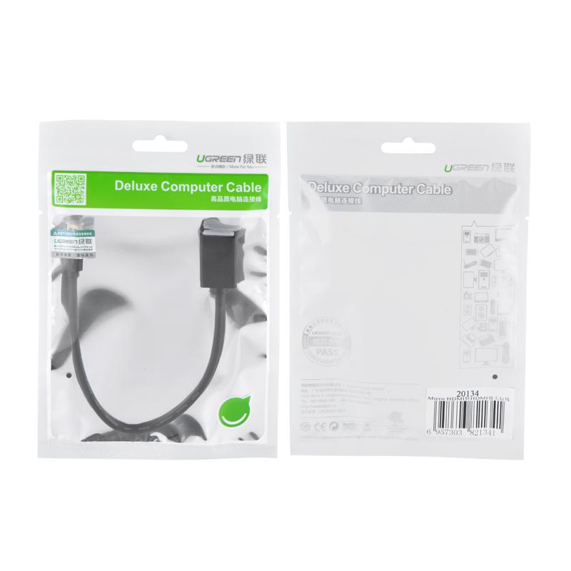 Cáp chuyển đổi micro HDMI đực sang HDMI cái dài 22cm UGREEN 20134 (màu đen) - Hàng chính hãng