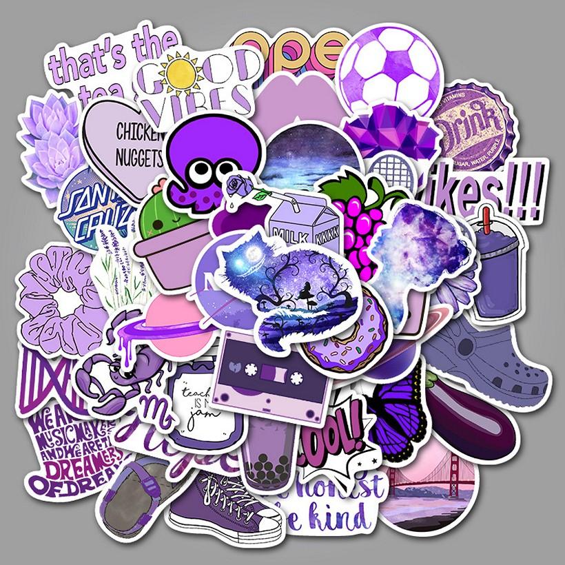 Sticker 53 miếng hình dán Purple Stub - hàng nhập khẩu