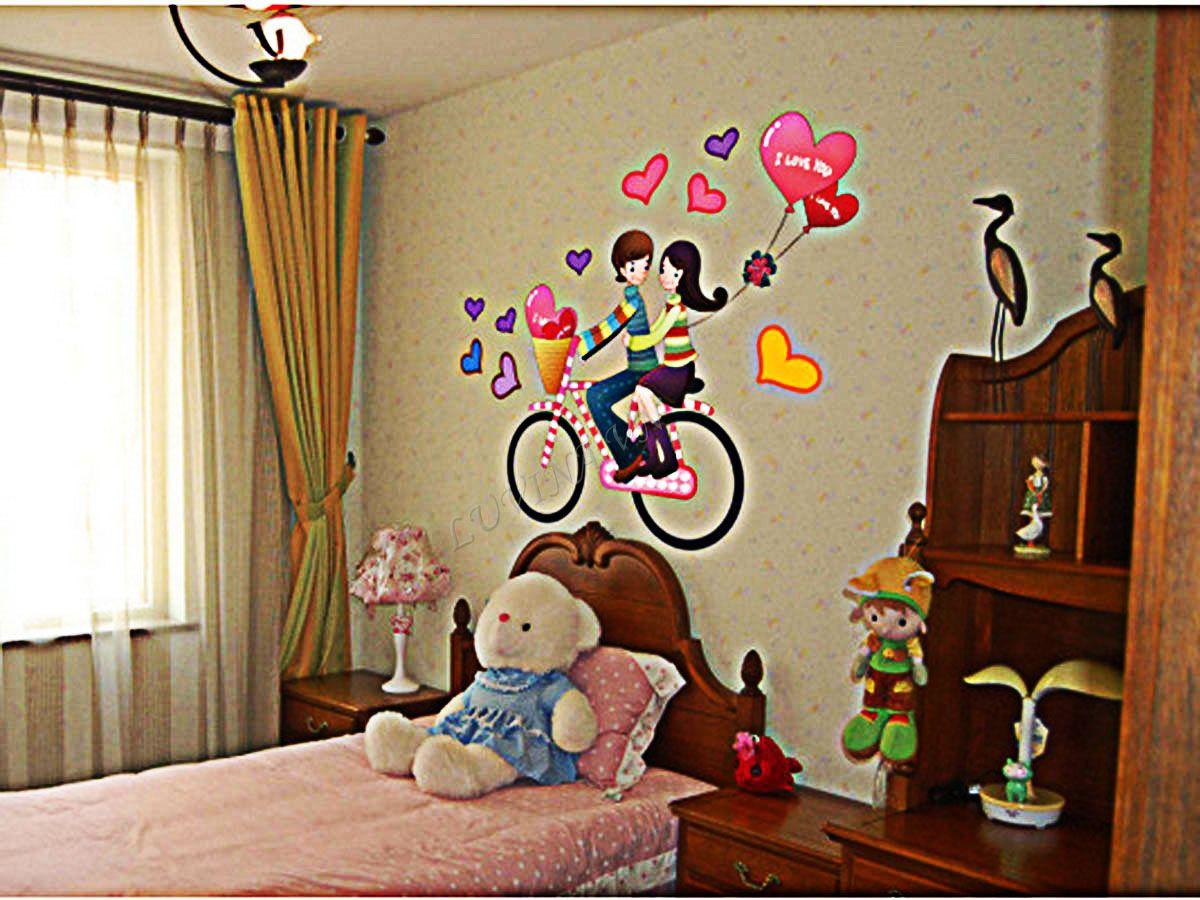 decal dán tường xe đạp bóng bay tình yêu