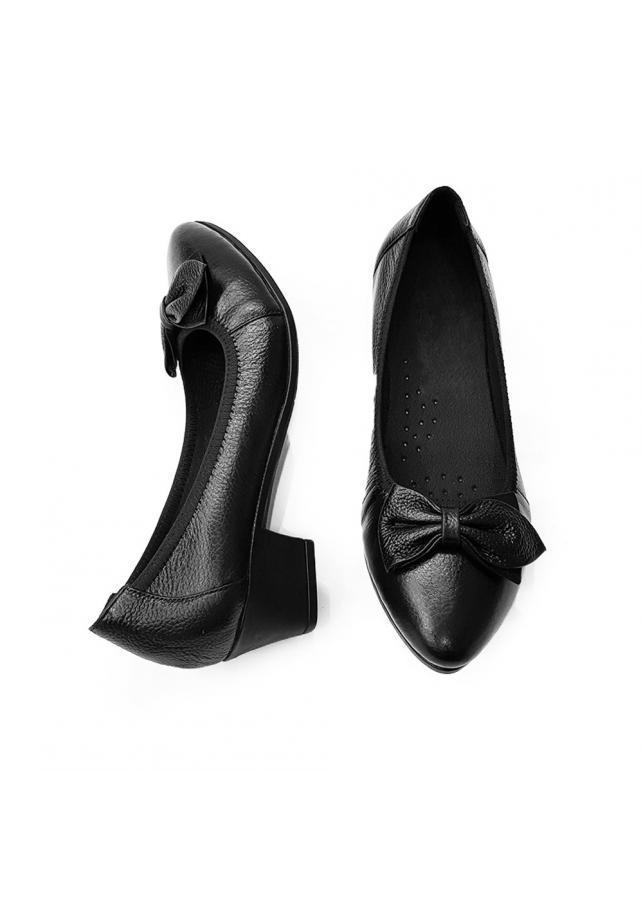 Giày Cao Gót Nữ Đế Vuông Cao 3cm Da Thật Siêu Mềm Evelynv 3P05DTP (Đen)