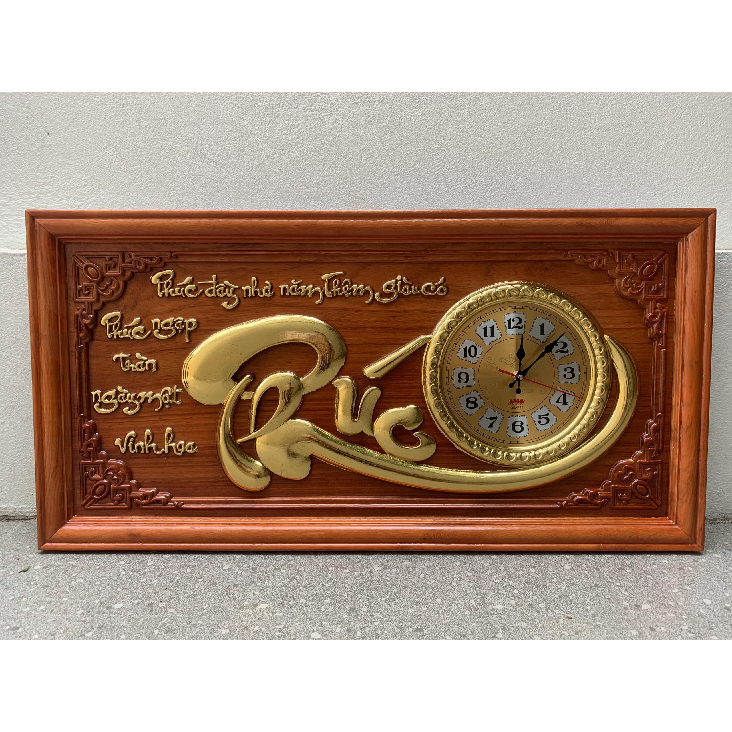 Tranh gỗ đồng hồ chữ phúc 81x41x3