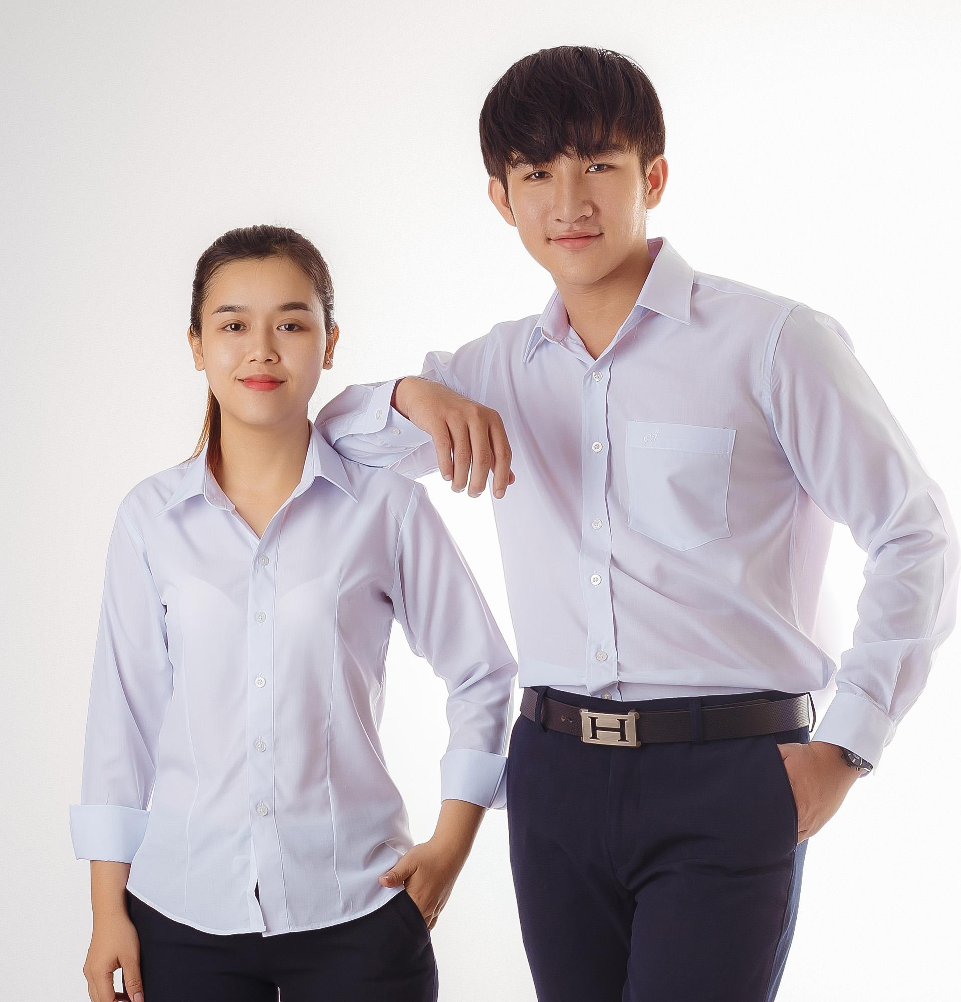 Áo sơ mi nam Amazing, sơ mi trắng, sơ mi học sinh, áo trắng học sinh, sơ mi tay dài, vạt ngang, vải kate silk mềm mại thoáng mát 40501-3001