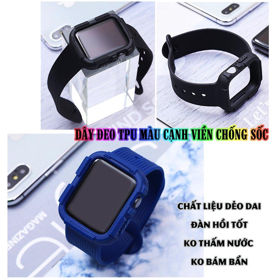 Dây Đeo liền ốp dành cho Apple Watch size 38/40/42/44mm TPU màu cạnh viền chống sốc - Đen (tặng dán KCL theo size)