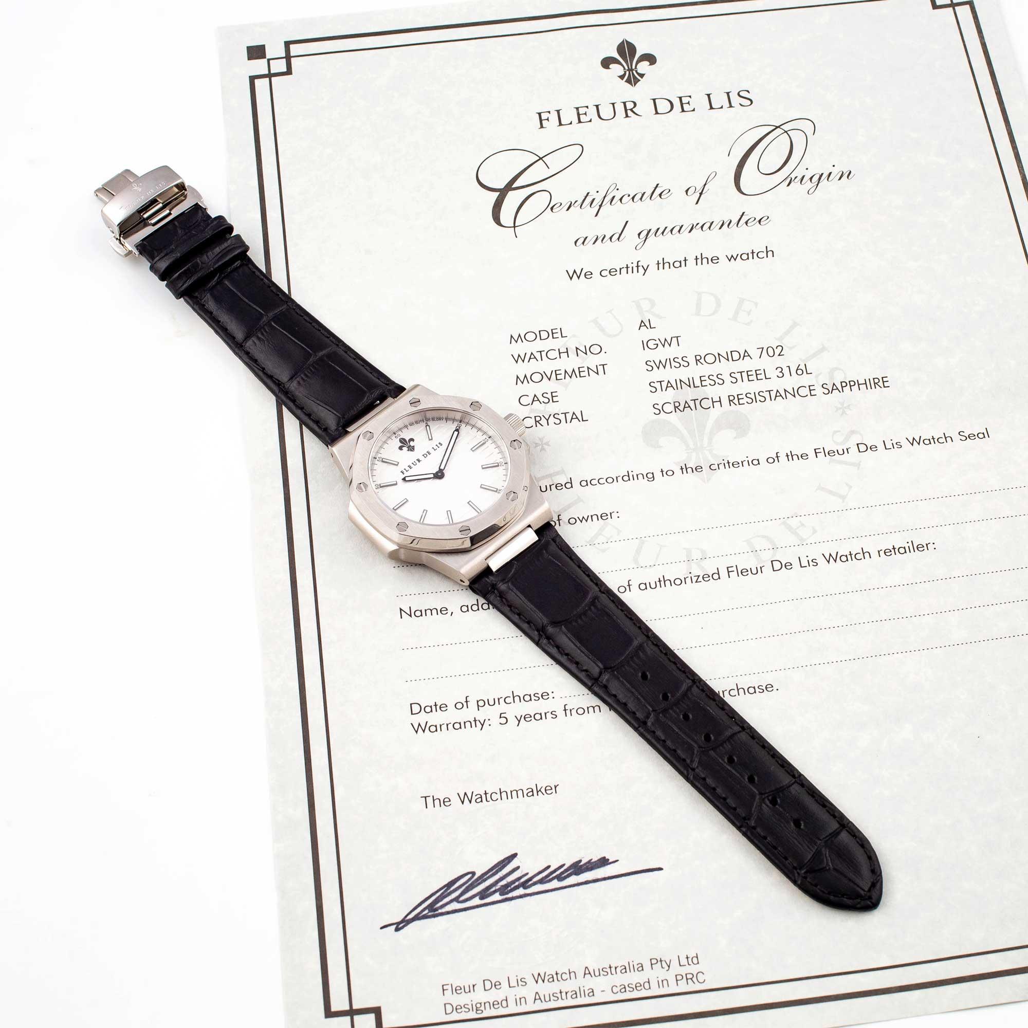 Đồng hồ nam Fleur De Lis AL-01 hàng chính hãng chống nước mặt shaphire 42mm dây da cao cấp
