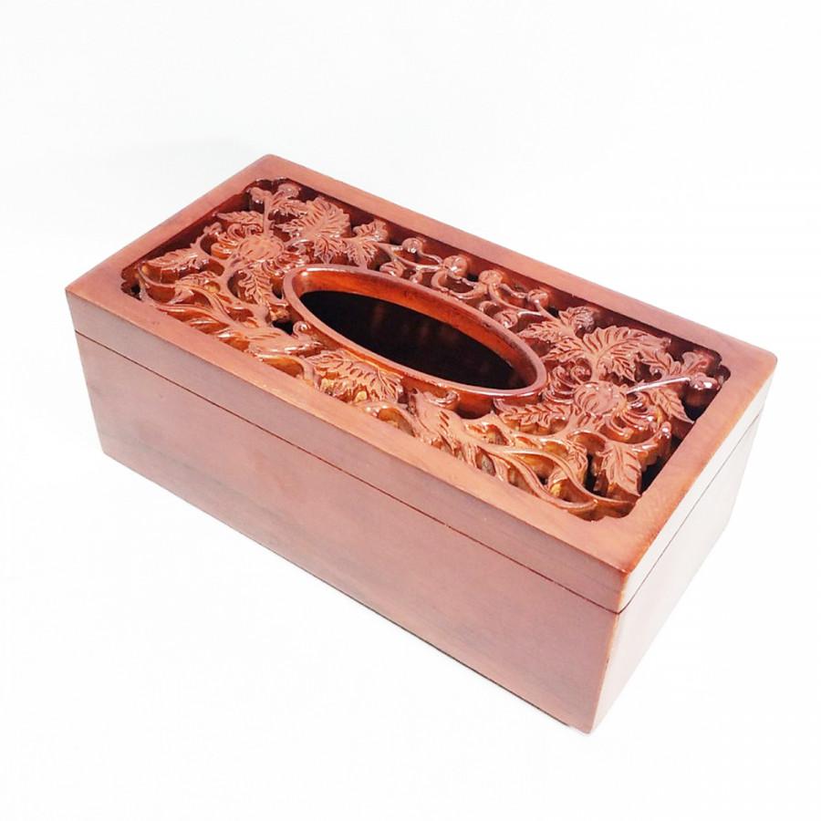 Hộp đựng giấy ăn Chim Trĩ hoa cúc bằng gỗ MS003 FLOWER