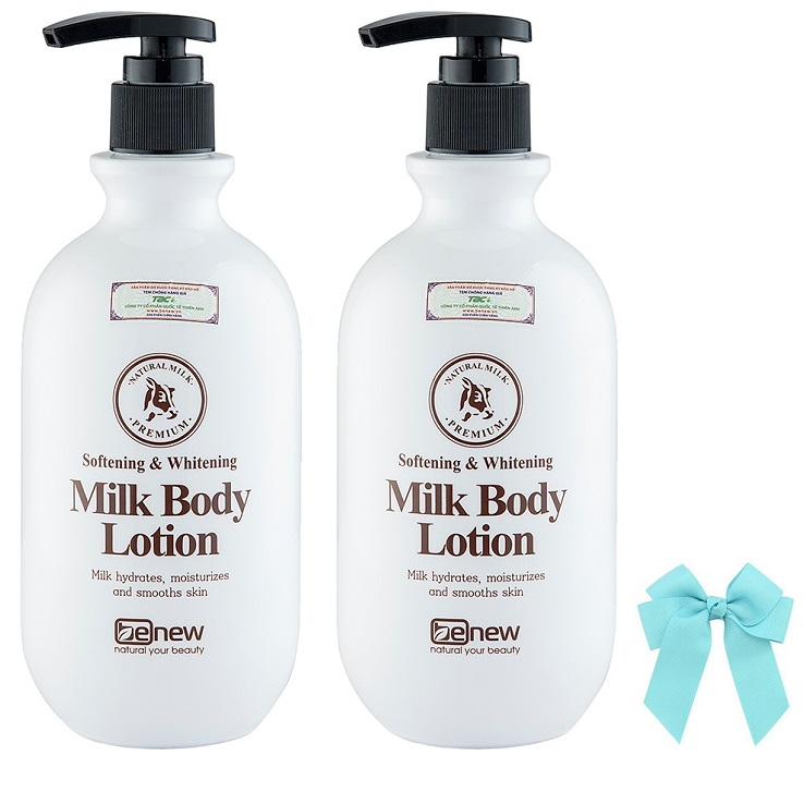 Combo 2 hũ sữa dưỡng thể  Benew Hàn quốc (450ml) và nơ