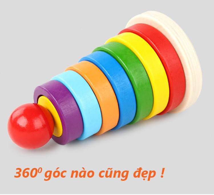 Đồ chơi tháp cầu vồng 7 màu bằng gỗ