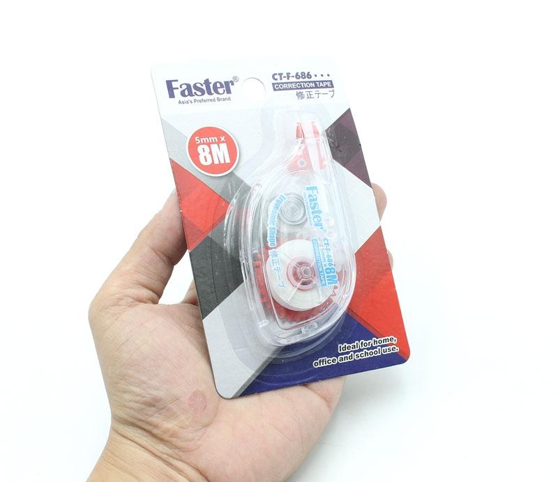 Bút Xóa Kéo 5mm x 8m Faster CT-F-686 - Đỏ