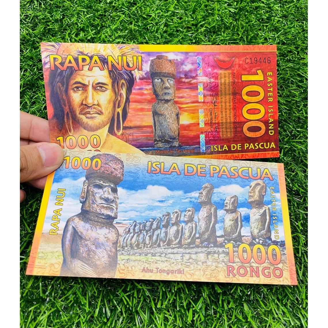 Tiền Đảo Phục Sinh 100 Rongo, bằng polyme, tiền lưu niệm,mới 100% UNC, tặng túi nilon bảo quản The Merrick Mint