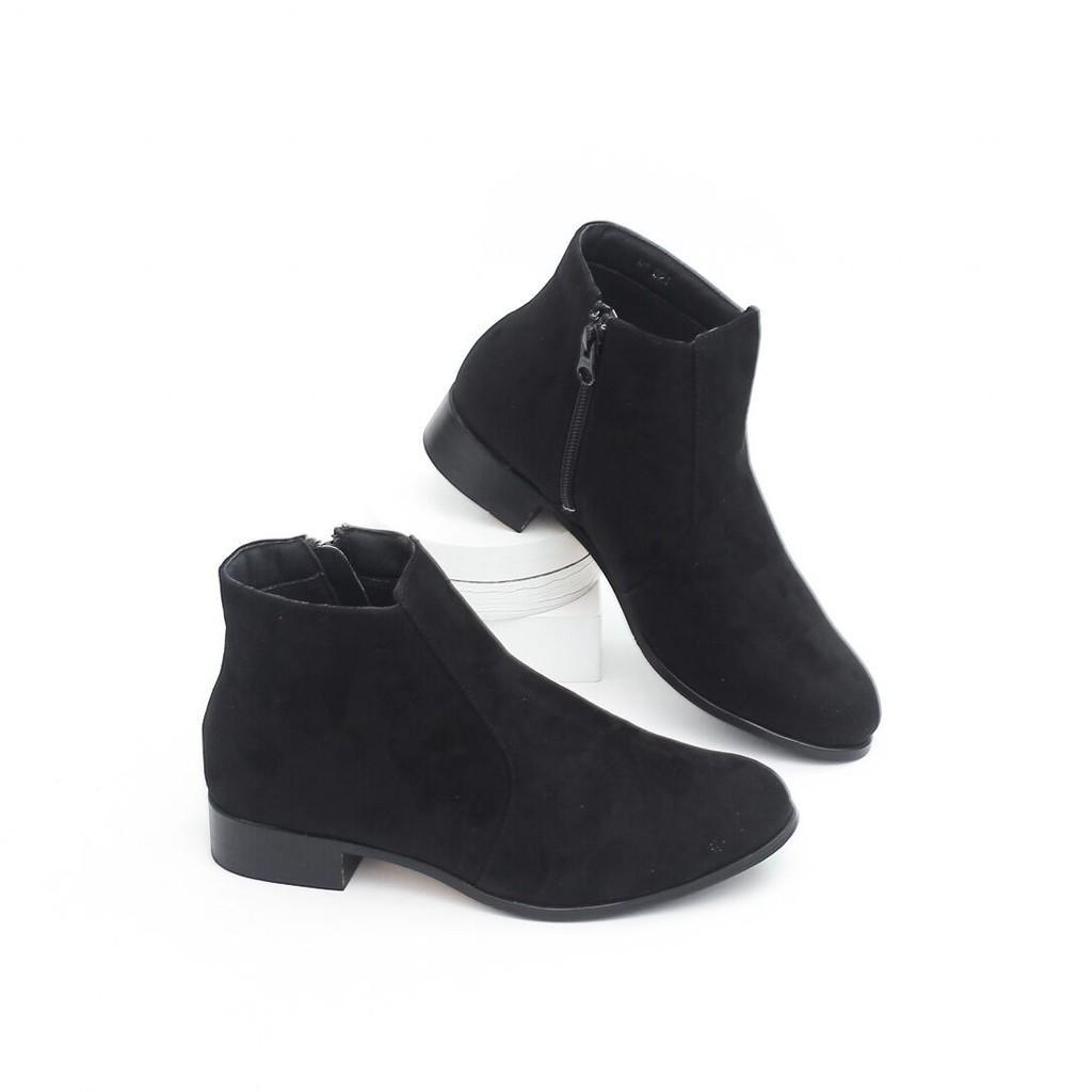 Giày Boot Da Lộn 2.5cm Cổ Thấp Pixie X415