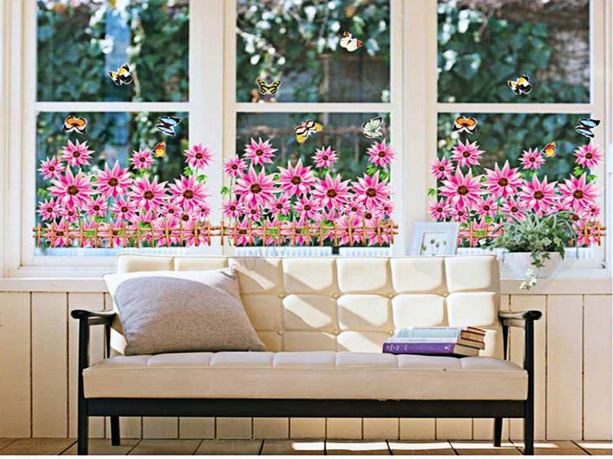 decal dán tường chân rào hoa cúc hồng ay766
