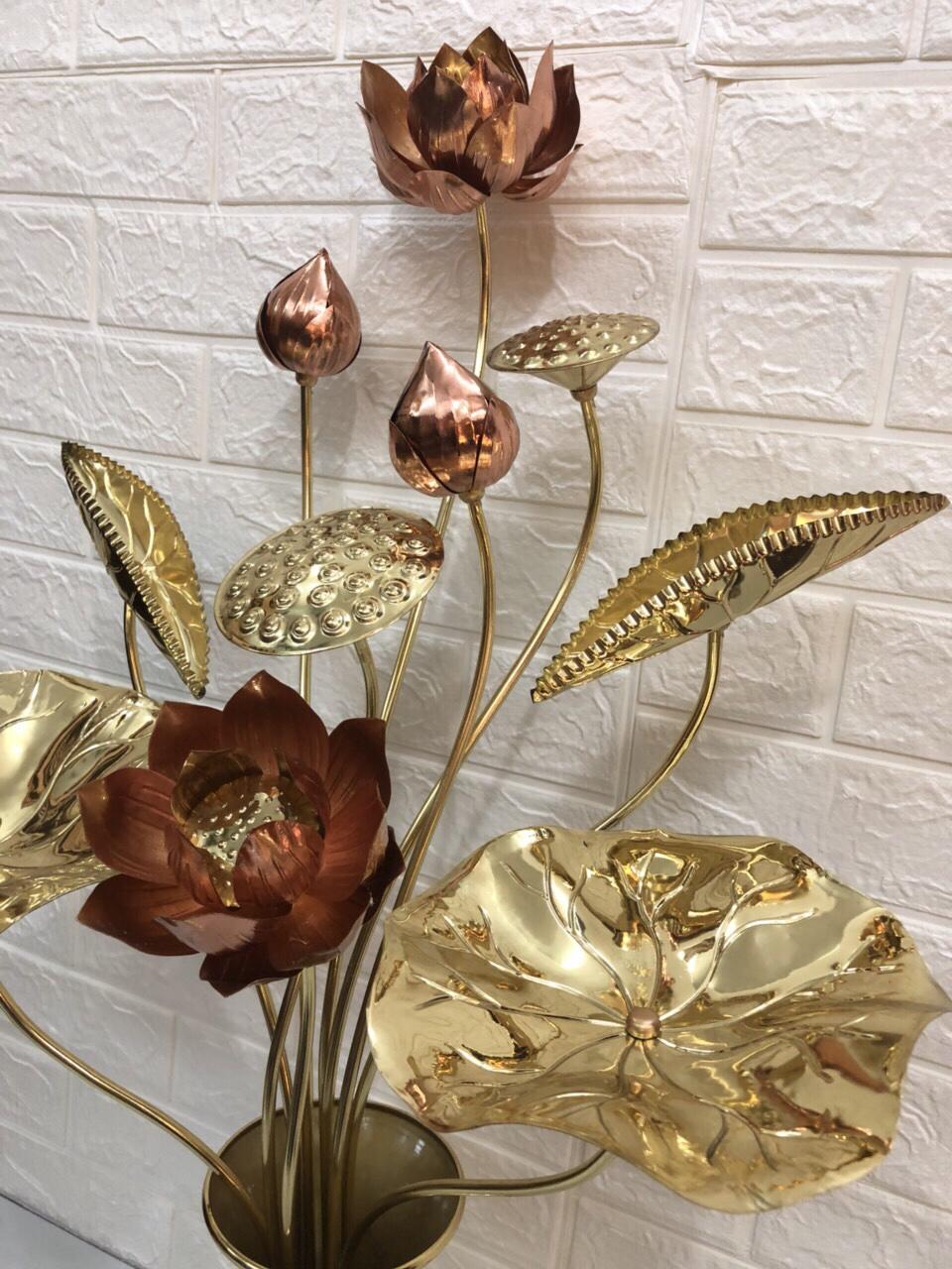 đồ thờ cúng bằng đồng  ( hoa sen hồng bằng đồng) hoa to m878