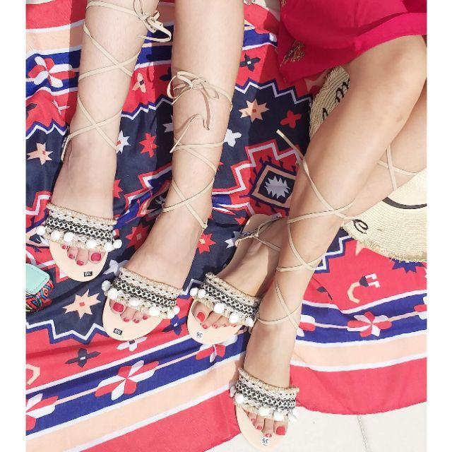Giày sandal thổ cẩm cột dây màu da (hình thật)