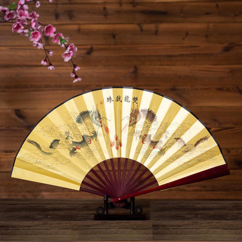 Quạt cổ trang rồng phượng cửu long phụng nền vàng Võ thuật Thái cực Kung Fu nan gỗ (31cm)