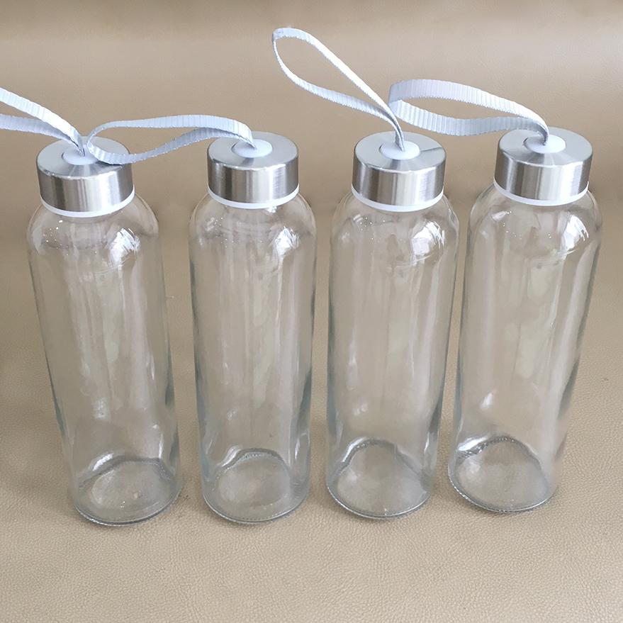 Bộ 4 bình thủy tinh dây xách nắp bạc 500ml