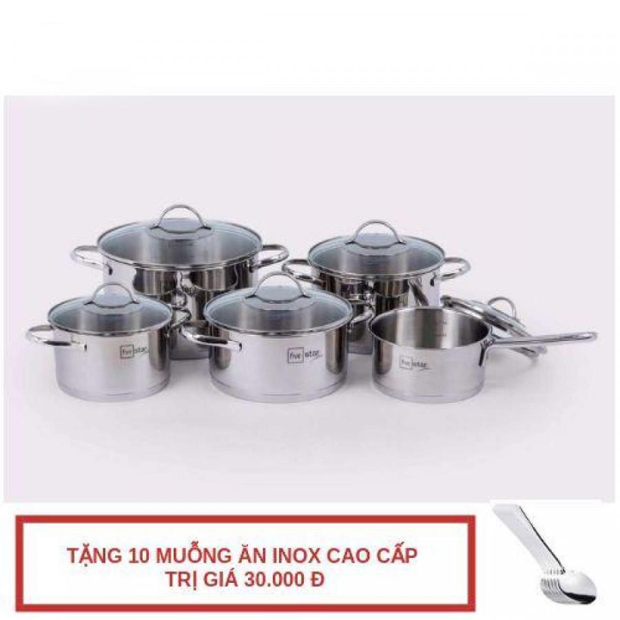 Bộ Nồi Từ Inox 304 Silit 3 Đáy 5 Món Nắp Kính Fivestar Tặng 10 Muỗng Ăn