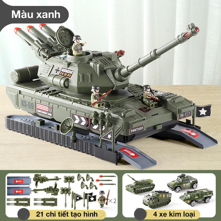 Bộ đồ chơi xe tăng KAVY NO.8827 kèm 4 xe quân sự bằng kim loại có đèn và nhạc thanh trượt, cất giữ bên trong..