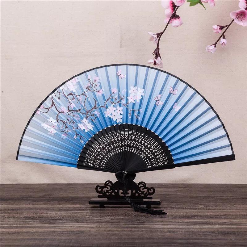 Quạt xếp cầm tay xanh dương liễu nan 21cm dây tuyến cổ trang phong cách Trung Quốc