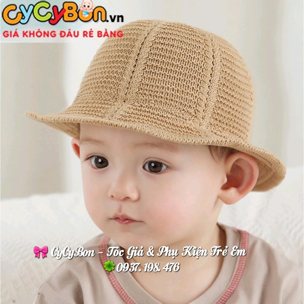 Mũ Nón Cói Cho Bé Trai - Gái Kiểu Rộng Vành Tai Bèo Màu Cafe Thích Hợp Đi Biển Che Nắng Đi Du Lịch