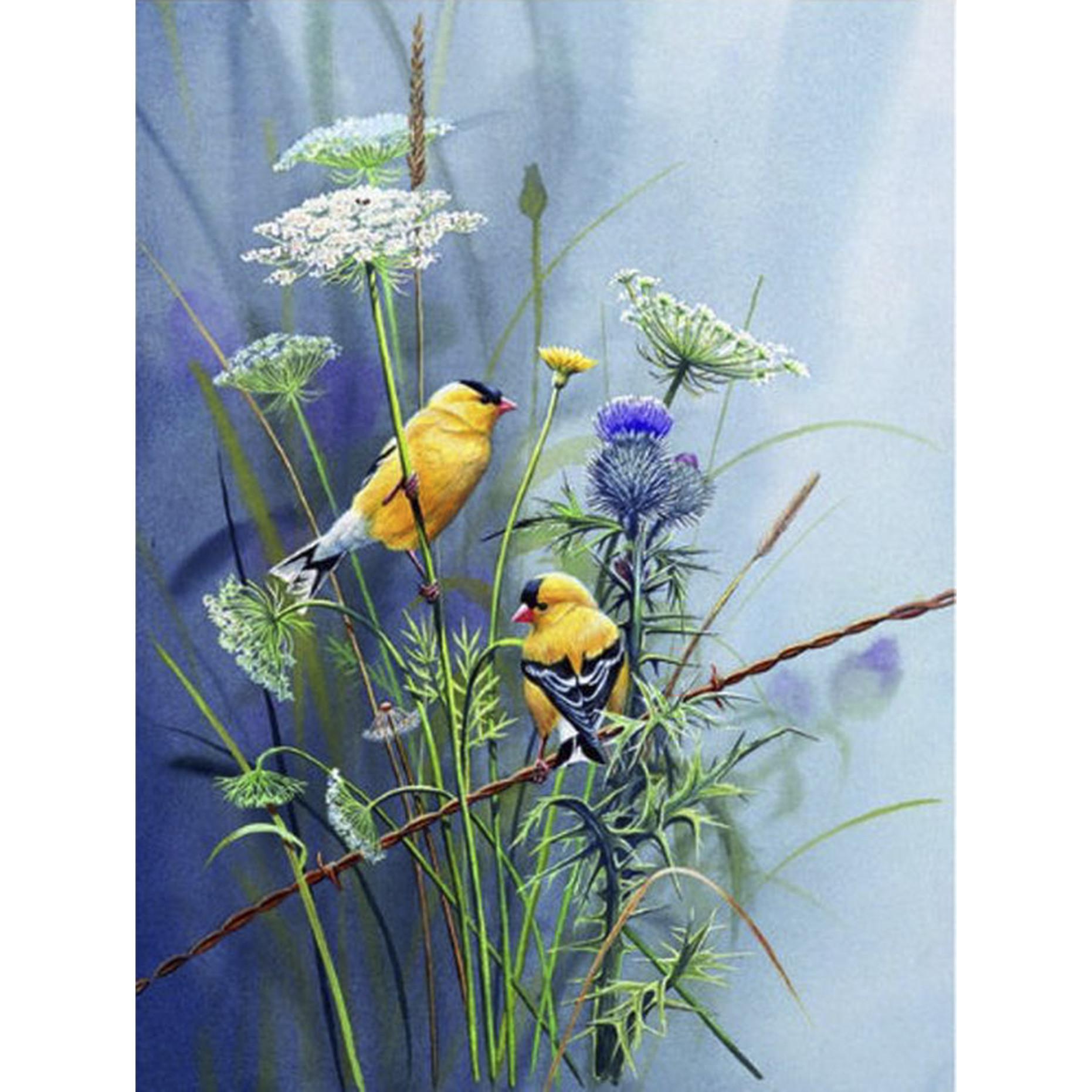 Tranh sơn dầu họa sỹ sáng tác vẽ tay: ĐÔI CHIM (3)