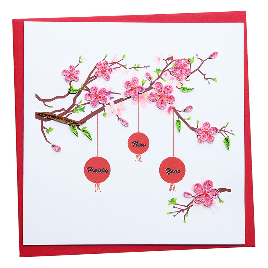 Thiệp Giấy Xoắn Năm Mới Việt Net VN1NY115023E1 (15 x 15 cm)