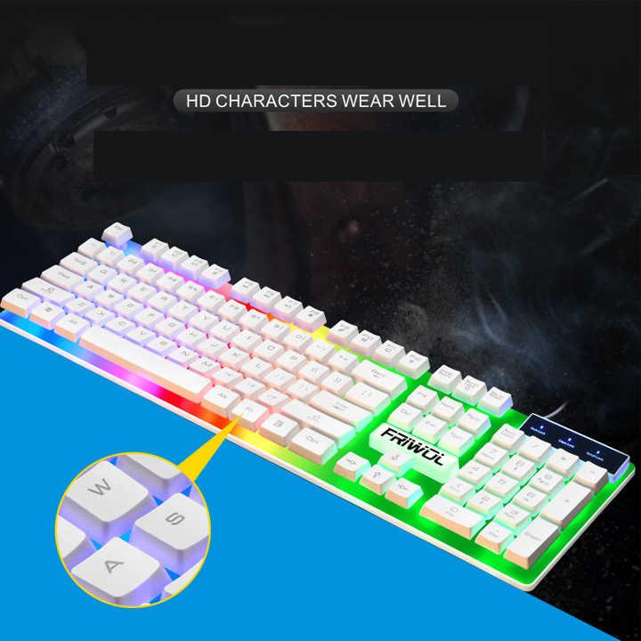 Bàn phím led 7 màu W1, đường nét góc cạnh tạo nên sự khác biệt - hàng nhập khẩu - giao màu ngẫu nhiên