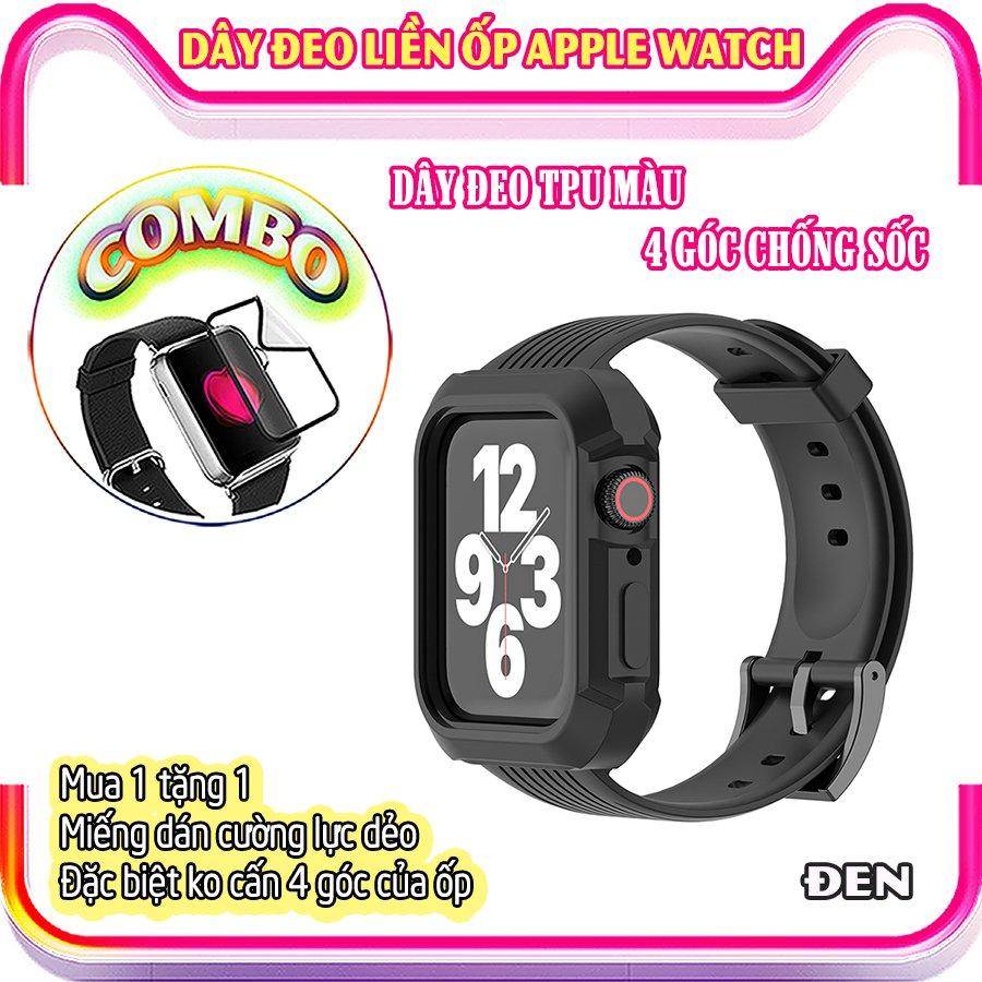 Dây Đeo liền ốp dành cho Apple Watch size 38/40/42/44mm TPU màu 4 góc chống sốc - Đen (tặng dán KCL theo size)
