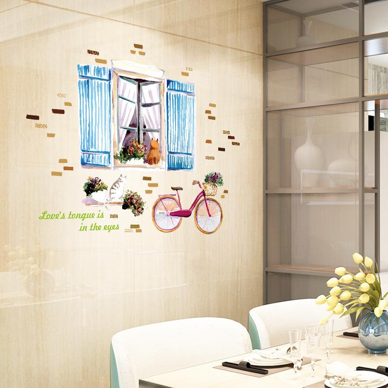 Decal dán tường xe đạp bên khung cửa SK9262