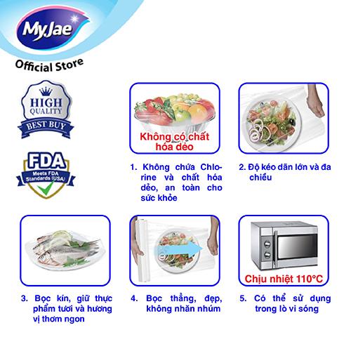 Màng bọc thực phẩm MyJae, PE chịu nhiệt 110 độ C, chấm đứt  (không cần dao cắt), 30cm x 30m