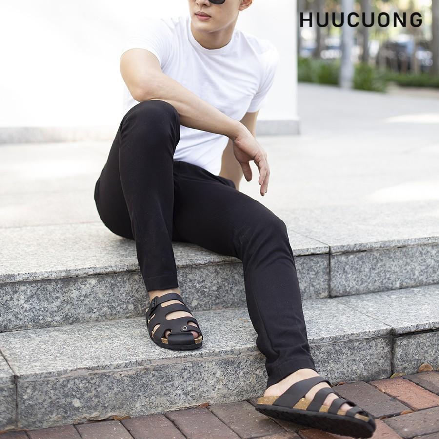 Dép Huucuong bít mũi da bò đen đế trấu