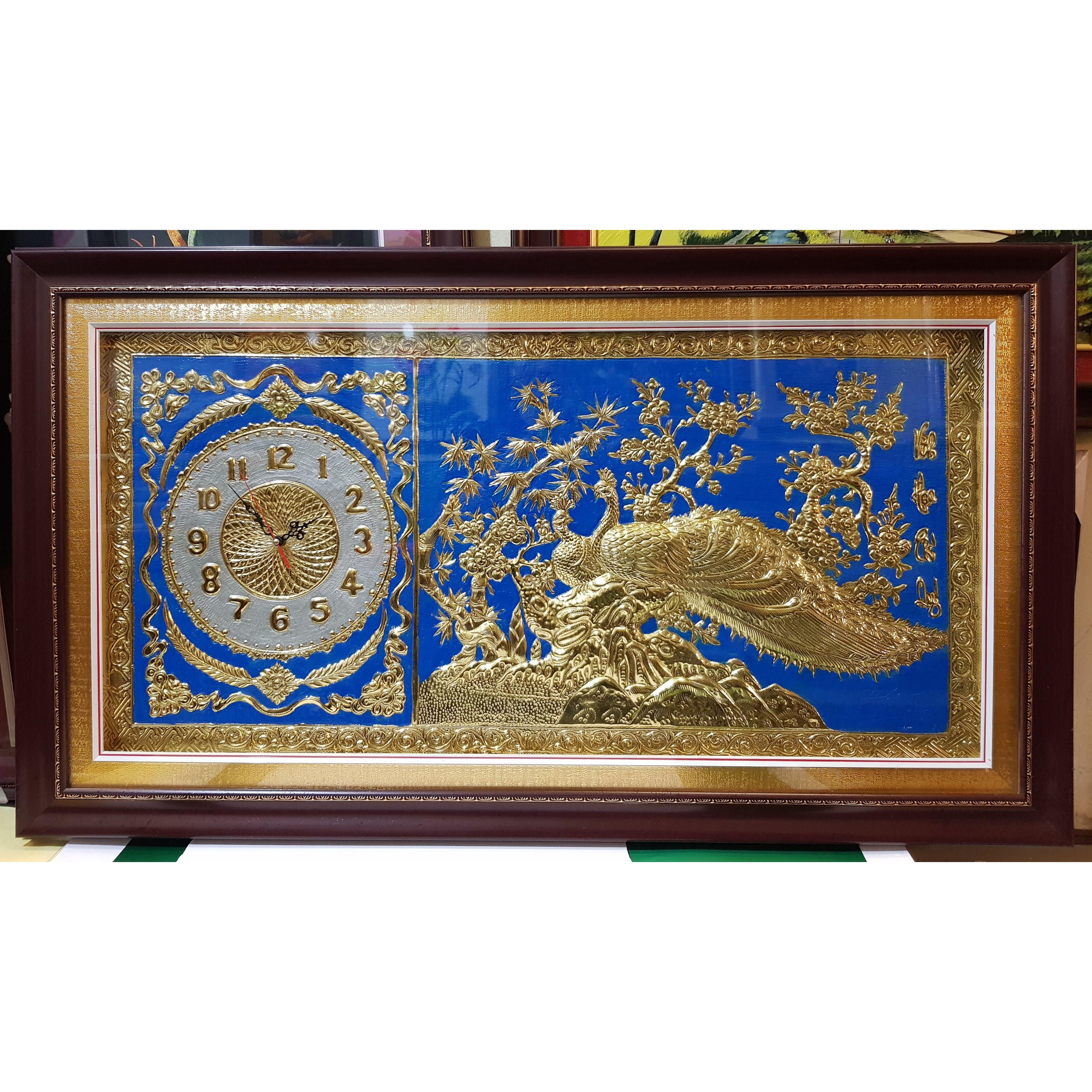 Đồng hồ-Tranh đồng vàng liền tấm -Đôi uyên ương ( đôi chim công)