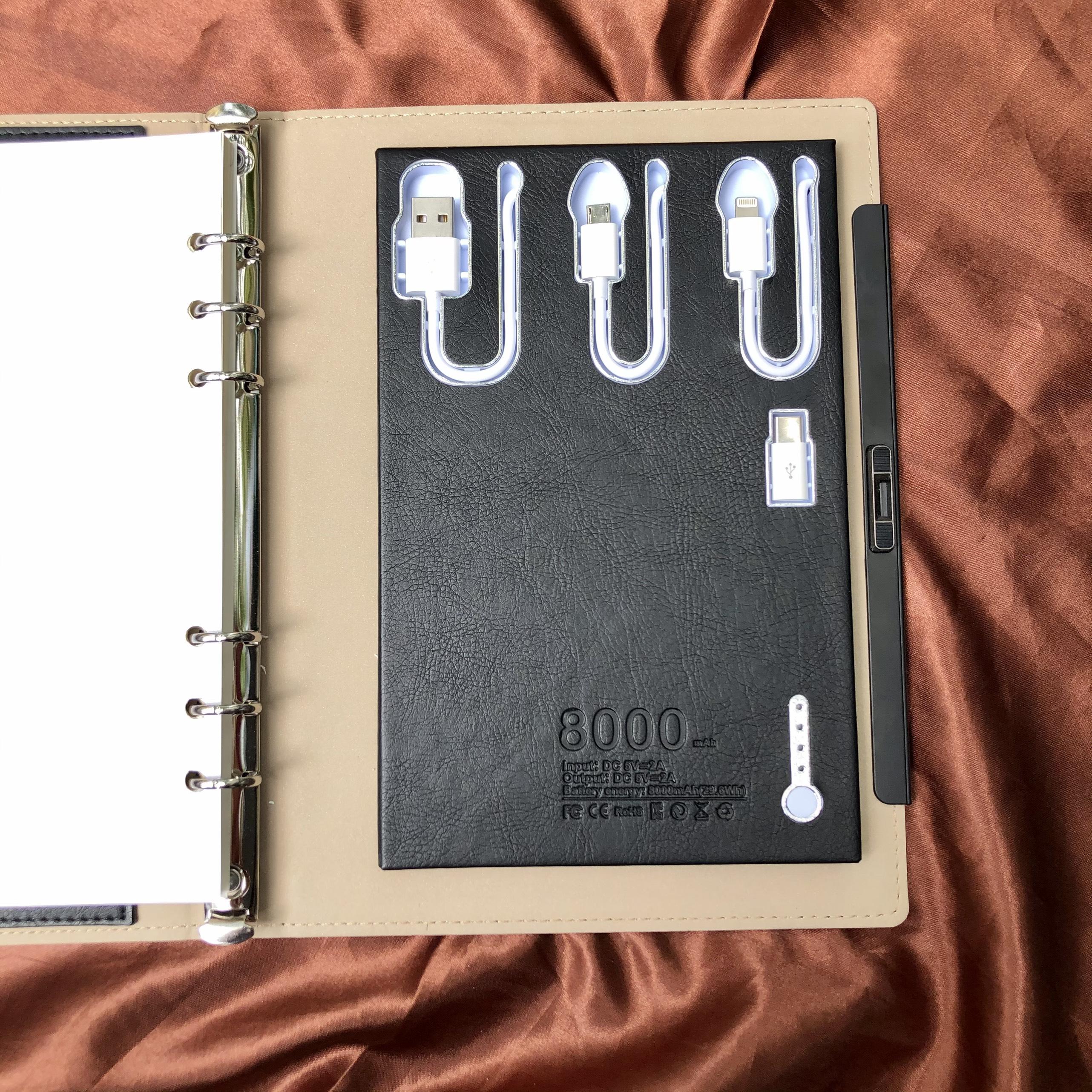 Sổ Da Smart Book '' Cảm Ứng Khóa vân tay tùy chỉnh,Kèm Sạc Dự Phòng Dung Lượng 8000mAH '' All-in one Cao Cấp Dành Cho Doanh Nhân