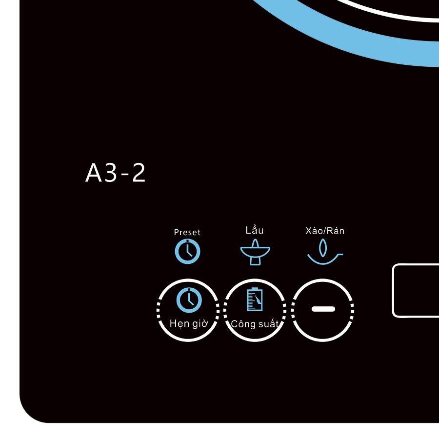 Bếp Điện Từ Đơn Luxkore A3-2 + Tặng 1 Nồi Inox Nắp Kính Đa Năng - Hàng chính hãng