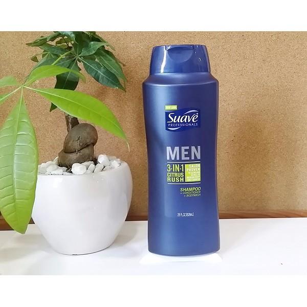 Tắm, gội, xả Suave Men 3 in 1 Shampoo, Conditioner and Body Wash (Mỹ) 828ml