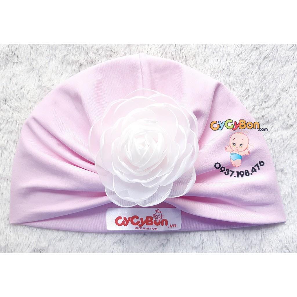 Nón Mũ Turban Tóc Giả Cho Bé Gái Màu Hồng Phấn Đính Bông Hồng Trắng - Chất Vải Cotton- Có Size Từ Sơ Sinh Bao Xinh !
