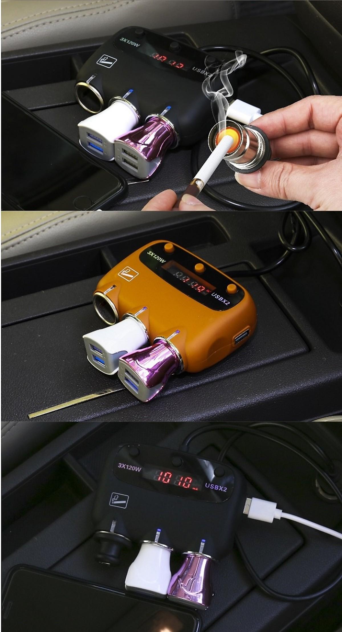 Thiết bị chia 2 cổng tẩu sạc, 1 cổng tẩu châm thuốc trên ô tô ( có đo điện áp ) - Tặng kèm 02 gương cầu lồi gắn trên ô tô