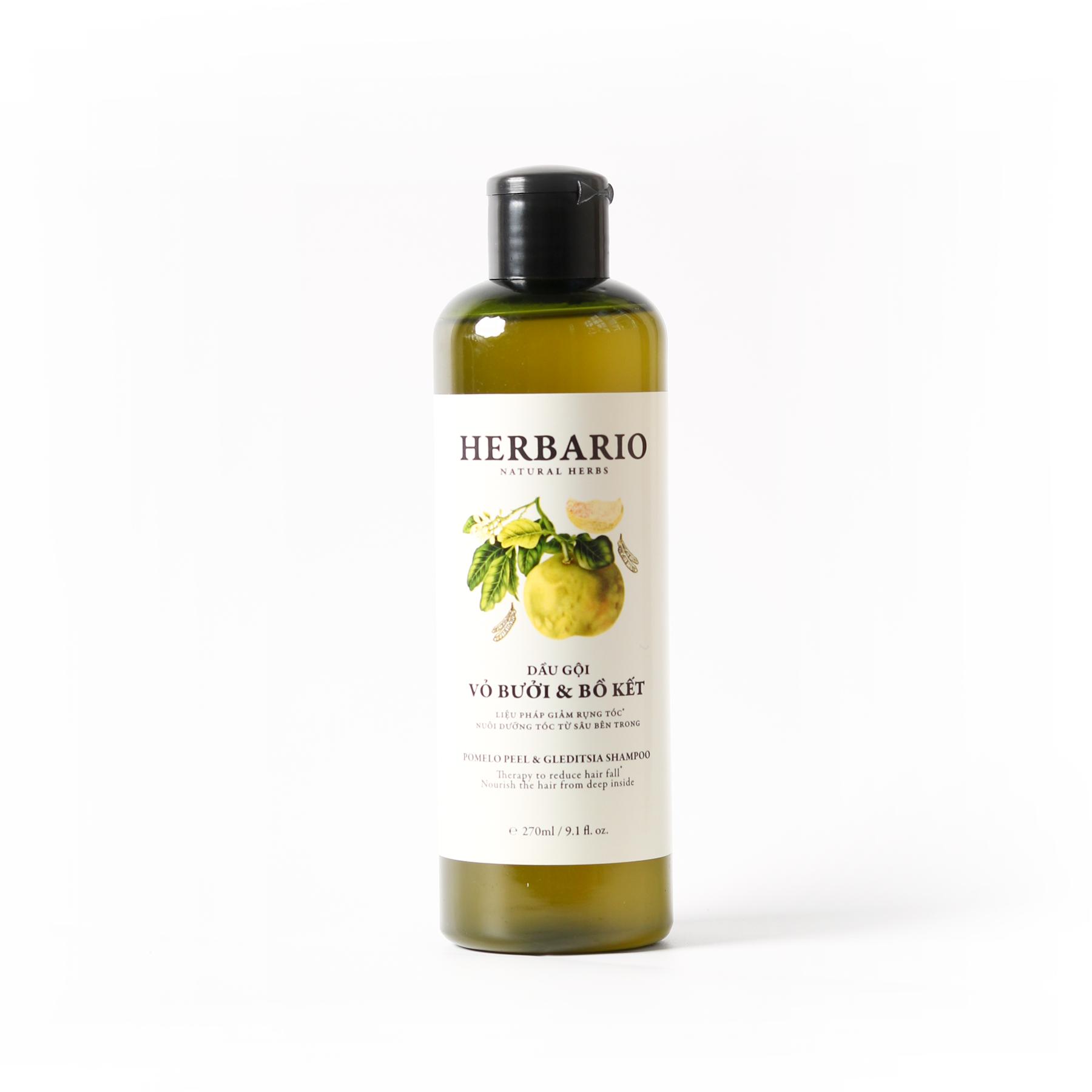 Dầu gội bưởi & Bồ Kết Herbario giảm rụng tóc, phục hồi tóc 270ml