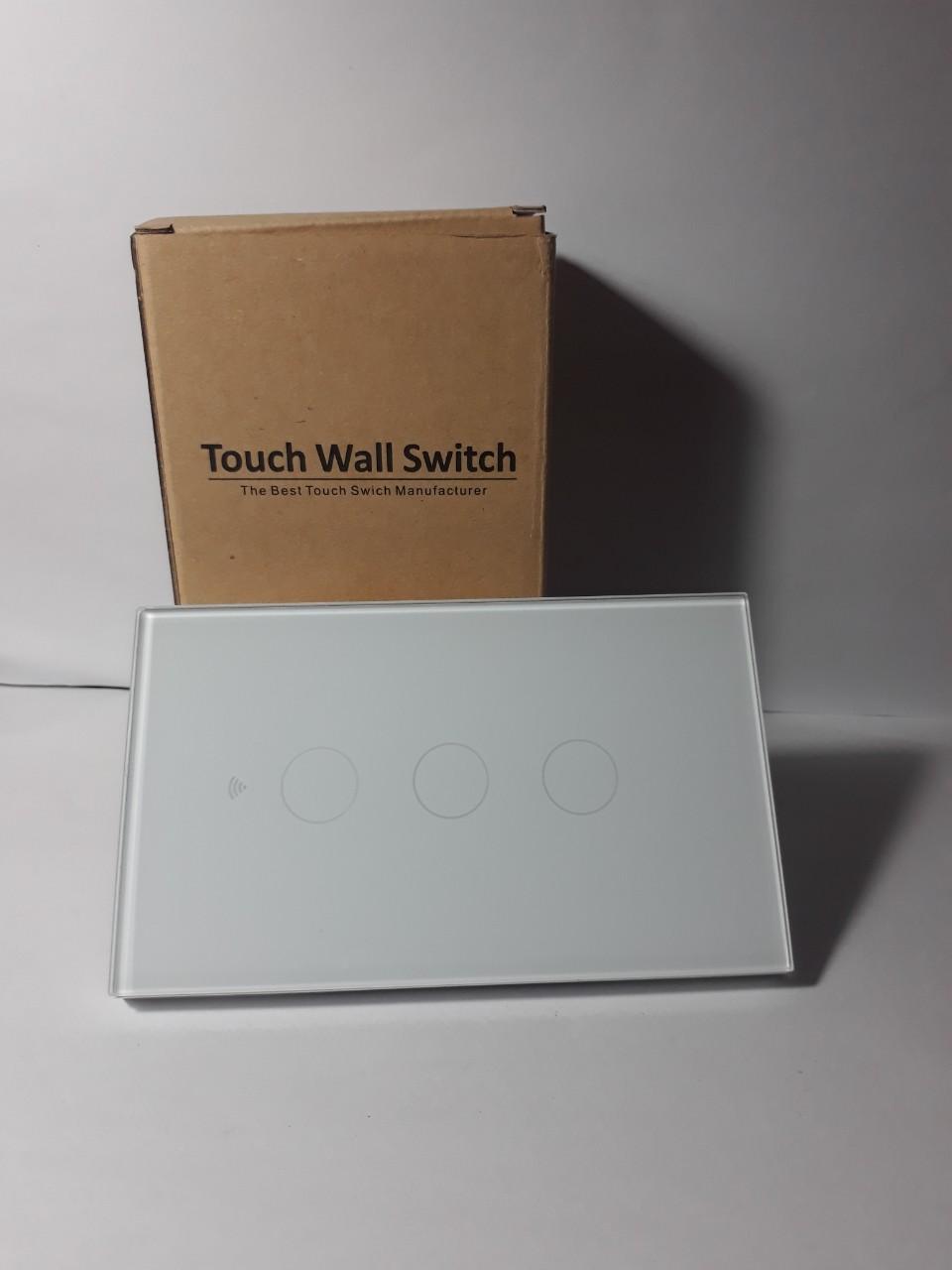 Công tắc cảm ứng wifi 3 nút không đèn màu trắng- Hàng chính hãng