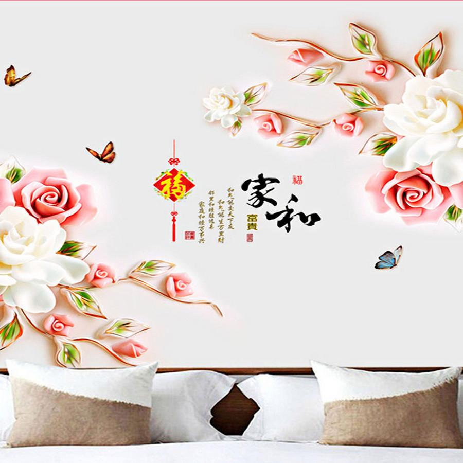 decal dán tường cụm hoa hồng hai màu trắng và hồng 2 mảnh bông to gs8974