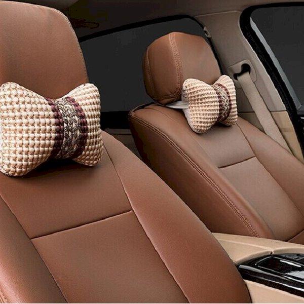 Combo 2 chiếc gối đầu ghế xe dệt lanh cao cấp cho xe hơi (họa tiết ngẫu nhiên)