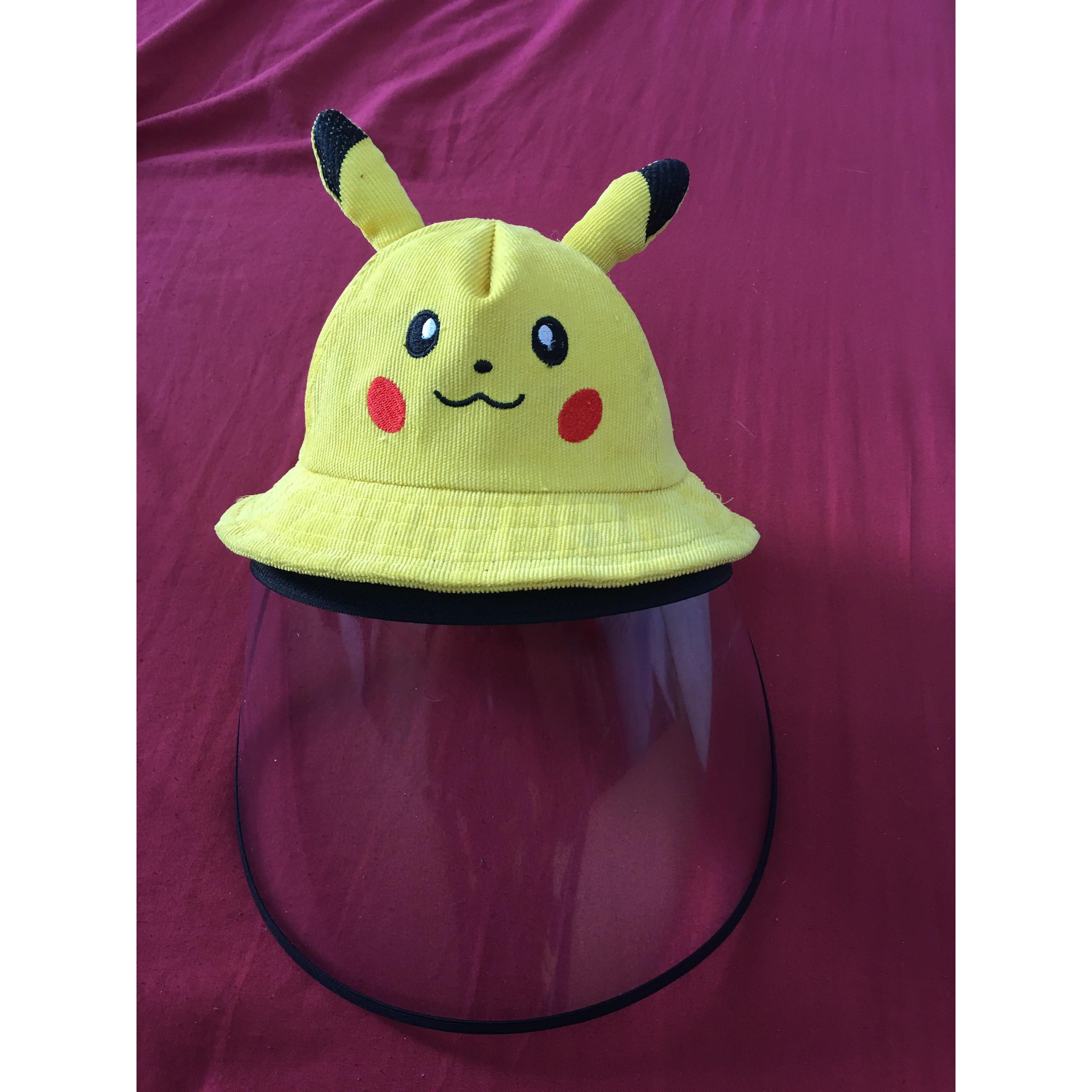 Mũ, nón PIKACHU cho trẻ em có tấm kính trong suốt chống dịch, chắn khói bụi CHO BÉ 3-8 tuổi (NHIỀU MÀU)