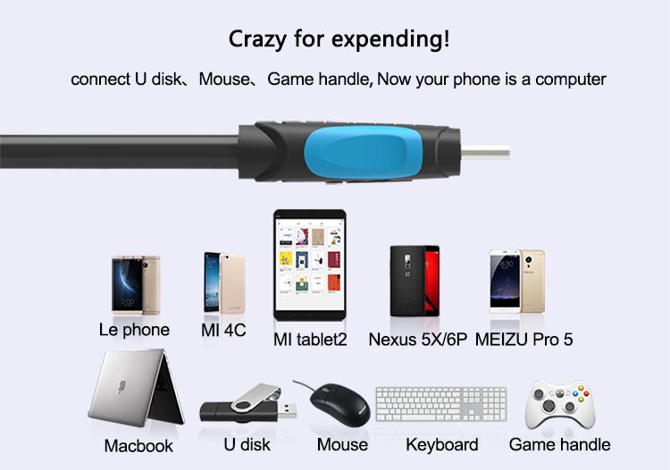Cáp chuyển đổi USB 3.0 sang Type-C OTG (Female to Male) dài 25cm Vention VAS-A51-B025 - Hàng chính hãng